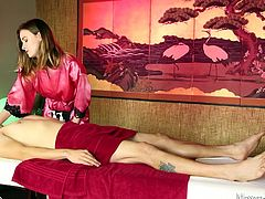 He goes in for a massage and finds out this attractive lady knows how to work a cock with her hands. She rubs her hands over his legs and then gently massages his penis to get him really hard. She uses her hands in unison with her mouth to get him off.