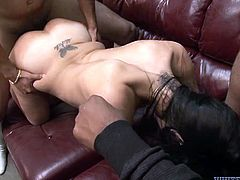 This insatiable whore won't even get a minute break - the cocks keep coming from all around to get the job done. Grab your throbbing dick and get ready for the hottest sex video ever.
