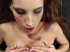Sexy long-haired girl Tina Blade strips and shows her big natural boobs to a man. Then she kneels in front of him and sucks his boner till it explodes with cum.