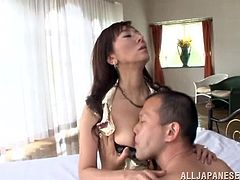 A horny Japanese MILF gets her feet and hairy pussy licked. Noriko gives a hot blowjob to the guy and then gets fucked in different poses. In the end the guy cums on Noriko's happy face.