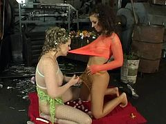 Have fun with this lesbian scene where these horny ladies please one another as well as peeing on one another in front of the camera.
