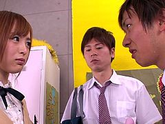 Often teens are not as innocent as they wanna seem. The Japanese schoolgirl in the video is not an exception. The little slut allows two of her colleagues to squeeze her nice tits and watch her while masturbating using a vibrator. Click to satisfy your curiosity and see what is under her skirt and wet panties.