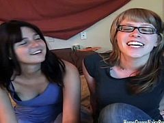 Hot adorable babes Chloe and Maya talking about their ex boyfriends. They miss them so much especially the sex part so they decided to have one for themselves using huge strapon.
