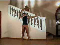 Blonde in nudes by the stairs