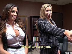 Take a look at this hardcore scene where the busty milf Ariella Ferrera is eaten out and fucked in her office by a guy with large cock.