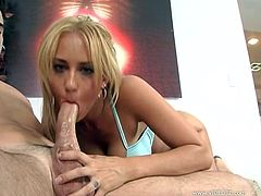 The sassy blonde bitch enjoys sucking on this hard penis. She is doing an amazing job and she simply can't wait to taste his sperm.