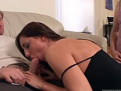 Have fun watching this brunette babe, with a nice ass and natural boobs, while she goes hardcore with a dude and humiliates her cuckold.