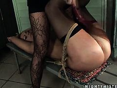 Brunette Mandy Bright with massive hooters and Katy Parker makes her lesbian sex dreams a reality