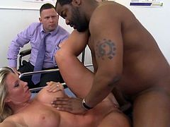 While hubby sits and watches, a big black cock roughly penetrates Devon Lee's cramped pussy