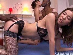 Get wild watching this Asian babes, with natural boobs wearing sexy lingerie, while they go hardcore with black dudes. They are sex machines!