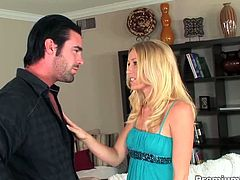 Allison Pierce is a hot milf with great fucking skills. She sucks on his massive cock and takes it right into her horny pussy!