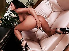 Ashley Bulgari with juicy knockers and hairless bush gets frisky for camera