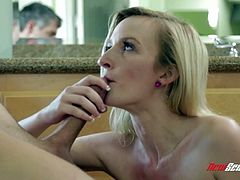 What are you waiting for? Watch this blonde babe, with natural breasts wearing socks, while she gets her pussy licked before having a big pole inside.