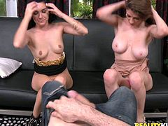 Black haired kinky chick lied on sofa with her legs spread apart and enjoyed getting her wet pussy licked by that lusty bonny babe. Meanwhile hot sausage of their fuck partner got ready to be sucked hard. Take a look at that hot FFM fuck in Reality Kings sex clip!