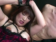 Asian mature mom is wearing sexy lingerie. Horny dude puts her bottom aside sliding his fingers in her hairy cunt. He brings Reiko much sexual delight while playing with her punani.