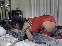 Amazing young chick in red hot dress sucks the dick and gets her asshole banged. Have a look at this whore in The Classic Porn sex clip.