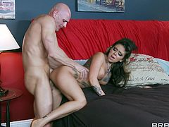 Check out this rough hardcore scene where the sexy tattooed Julia Bond sucks on this guy's big cock before being drilled until this babe ends up with a messy facial.