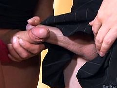 Amy and and Astrid pull their lady cocks out and rub then together. Astrid makes the first move and gets down on her knees to suck Amy's penis. This excites her so much that she has to give some pleasure, too. Amy sticks her face in her girlfriend's ass and gives her a great rimjob.