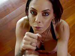Will Powers is having fun with sexy and horny brunette Brandy Aniston. Brandy kneels in front of Will and sucks his shaft till it explodes with cum on her beautiful face.