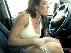 Exquisite Capri Cavalli Masturbates Hard Inside A Car
