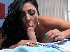 Check out this incredible hardcore scene where busty doctor Audrey Bitoni sucks and fucks a lucky patient until he cums in her mouth.