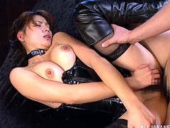Nasty Nanami Sakura gives a handjob to a guy and also sits on his face. After that this gorgeous Japanese chick gets fucked in her hairy pussy.