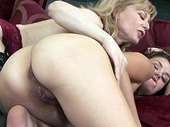 It's time for sleazy mom to show her daughter proper pussy masturbation during sexy oral together