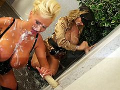 Dirty with voluptuous forms ladies are in for a nasty adventure during sensational glory hole femdom porn spectacle