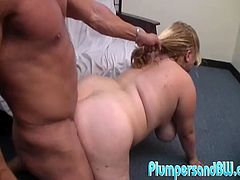 A horny ass fat bitch sucks on this dude's hard cock and fuckin' takes it in her fuckin' cock holster, hit play and fuckin' check it out right here!