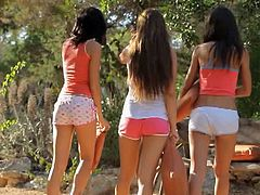 Angela, Brooke Banner and Luiza all get ass drilled outdoors. They share a guy's dick to the point of worshiping it when it comes in and out of their holes.