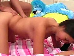 Petite Asian babe Evelyn Lin loves a big cock to play with. she may be small but watch as she tries to stuff this thick cock into her mouth and then deep inside her tight but wet  pussy.