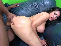 Black haired sexpot Shelia Marie backs up her booty letting black stud lick her moist asshole. Big black dick tears apart white coochie of Shelia Marie in doggy pose.