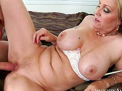 Curvy big titted mature blonde Julia Ann is his buddys sexy mother. She sucks his hard young dick and then removes her white panties to takes it in her dripping wet pussy. Watch big titted milf get shagged!