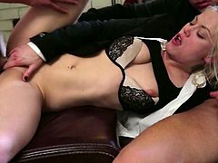 Attractive and kinky blond haired babe with nice body gets her dripping pussy fucked hard and gives a blowjob getting the sperm on her face. Have a look at this whore in Wicked sex clip.