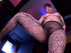If you are addicted to teen sluts who do not hesitate to show off their talents, click to watch! A Japanese bitch who's wearing only a pair of black fishnet stockings plays joyfully with a dick. The game involves feet fetishism and the 69 pleasurable position. See the naughty girl sucking a dick with passion!