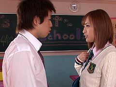 Have you ever fantasized about fucking with your school mate? To squeeze the awesome tits of the most attractive girl in the school? Two students meet in the classroom and begin playing dirty, starting with shy kisses and getting more serious. The slutty teen gets down on knees to suck cock. Click!