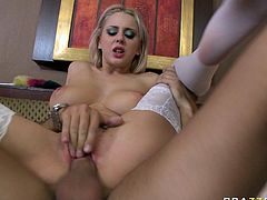 Light haired kinky bitch with nice boobies and in sexy stockings got banged in mish. flying.doggy and reverse cowgirl styles. Have a look at that steamy copulation in Brazzers Network sex clip!