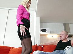 Slim leggy whore Vanessa Hell strips and gives her head to young dude