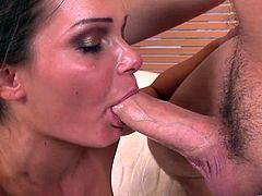 A sexy, young brunette with exquisite, natural tits, a shaved pussy and hot ass enjoys a hardcore fuck. Hear her scream with pleasure now!