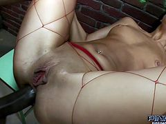 Dark haired whorish chick in red fishnets enjoys getting her dirty asshole fucked in mish and reverse cowgirl positions by that brutal African dawg. Later she sucked that sloppy giant sausage greedily. Take a look at that hard interracial anal sex in Pinko HD sex video!