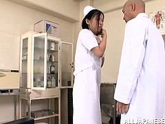 Hot Japanese milf wearing panties and pantyhose is getting naughty with a guy in the hospital. They have oral sex and then bang doggy style.