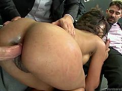Five horny cocks with lusty sinful desires share a slutty bitch in their office room. They untie the naked bitch wearing high heels and terribly fuck her from behind while she is obediently sucking one big dick. Click to watch extraordinary scenes of hardcore sex!