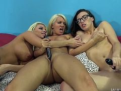 Slutty and hot brunette with nice ass gets her dripping pussy licked by two blondes and then one of the blondes gets drilled missionary. Have a look at these sluts in My XXX Pass sex clip.