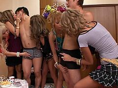 This group of sultry Shibuya gals love picking up virgin men and jacking them off. The girls strip the men naked and run their tongues and hands all over those inexperienced cock. Then men can't hold back any longer; they have to cum soon.