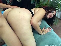 Big-assed and busty brunette milf Sonia Blaze pleases a man with a blowjob. Then she takes his boner in her coochie and they fuck in the cowgirl and other positions.
