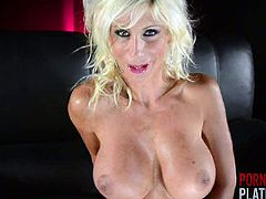 Puma Swede is a mature blonde with an amazingly fit body and huge boobs. She strips, poses and rubs her pink pussy with her fingers. She spreads her ass cheeks for a better view too.