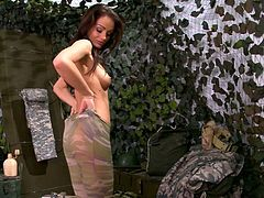 Hot brunette military babe Sophie Lynx had awesome sex