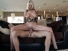 Kinky busty blond haired bitch with nice ass gets her dripping pussy fucked hard riding a cock in cowgirl pose. Have a look at this chick in Brazzers Network sex video.