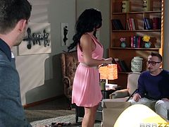 Rio Lee is getting naughty with Bill Bailey in an office. The sexy brunette gives a blowjob to the dude and they have sex in the reverse cowgirl position and doggy style.