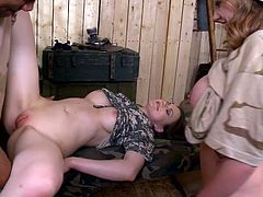 You are going to watch extremely hot sex tube video featuring two jaw dropping soldier girls. They lick each others pussies and get fucked by big black dude.